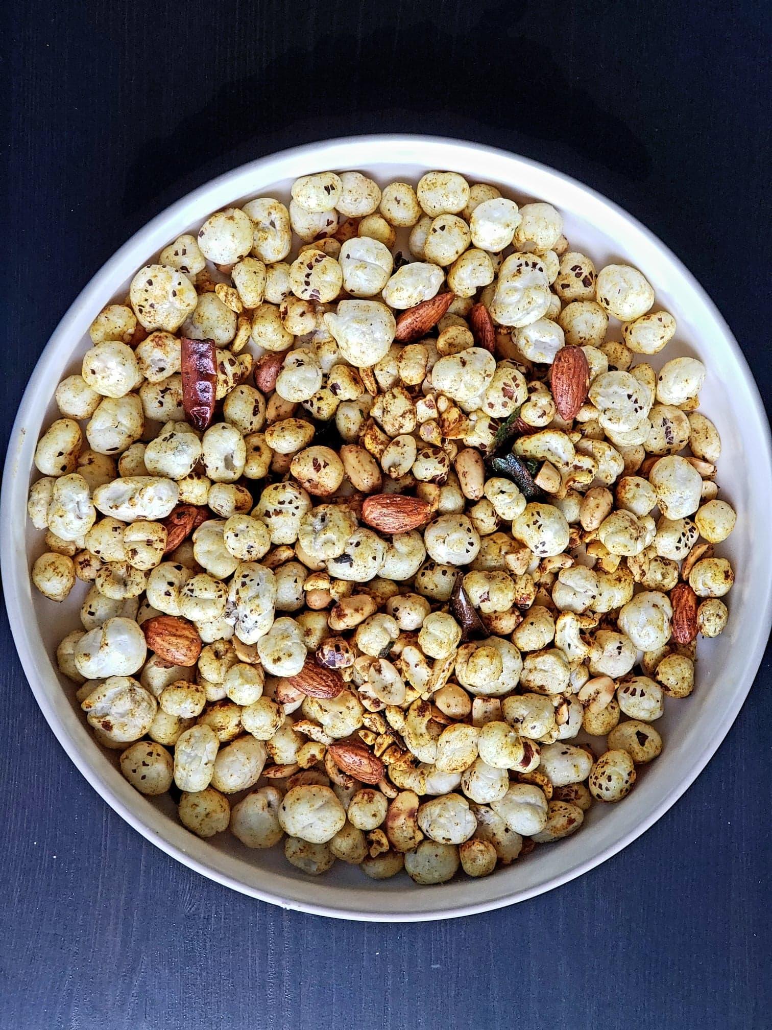 Makhana Chivda (Foxnuts or Lotus Seeds Snack Mixture)